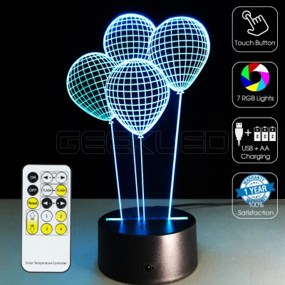 3D Balloons Optical Lamp with Remote Control