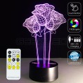 3D Roses Optical Lamp with Remote Control