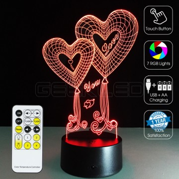 3D Double Hearts Optical Lamp with Remote Control