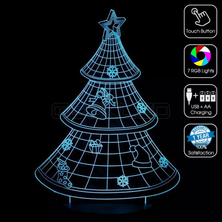 3d christmas tree optical lamp with remote control - Remote Control Christmas Tree
