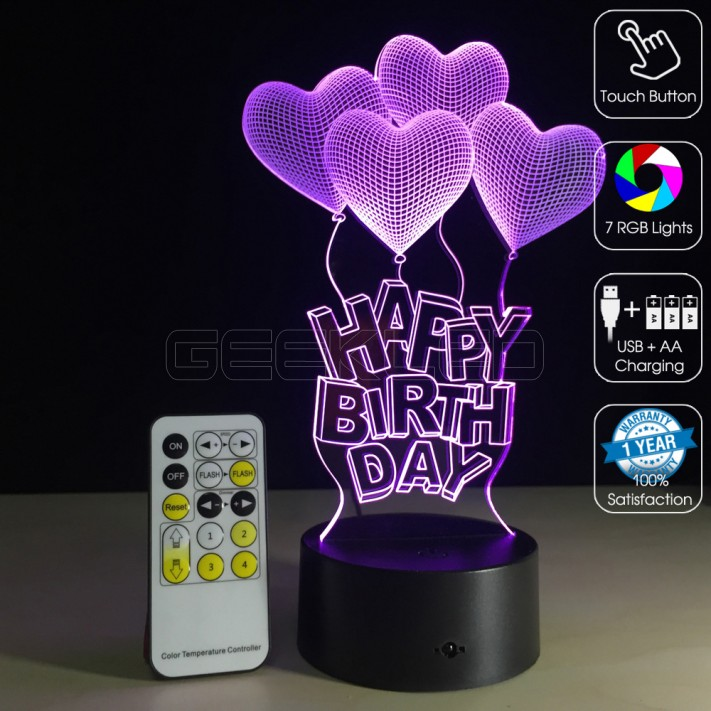 3D Happy Birthday Optical Lamp With Remote Control