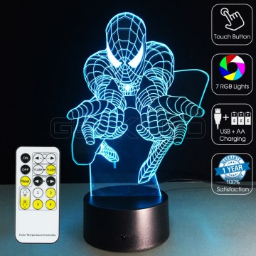 3D Attacking Spider Man Optical Lamp