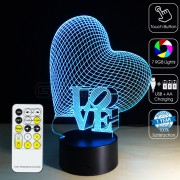3D Heart Love Optical Lamp