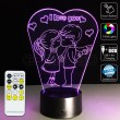 3D Love Couple Optical Lamp