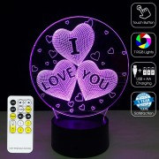 3D I LOVE YOU Optical Lamp