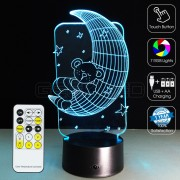 3D Cute Bear Moon Optical Lamp