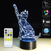 3D Batting Cat Optical Lamp