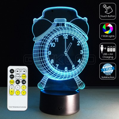 3D Clock Optical Lamp