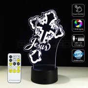 3D The Cross Jesus Optical Lamp