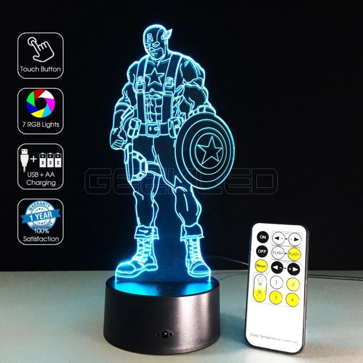 3D Captain America Optical Lamp