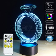 3D Diamond Ring Optical Lamp IR Remote Control