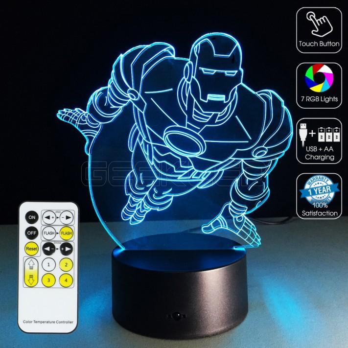 3D Optical Illusion Lamp Night Light Flying Iron Man