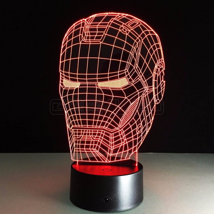 Optical Illusion Lamp Night Light Iron Man Mask