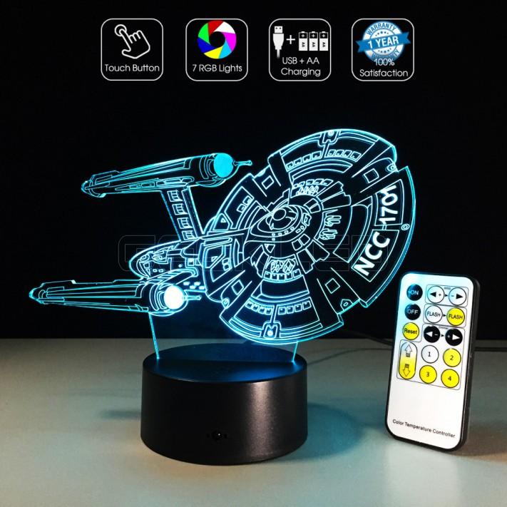 3d Optical Lamp Star Trek Star Ship Uss Enterprise Ncc 1701