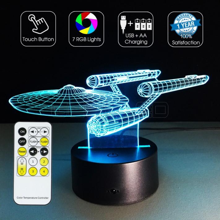 3d Optical Illusion Lamp Night Light Star Trek Warship
