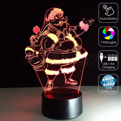 3D Optical Illusion Lamp Merry Christmas Santa Claus
