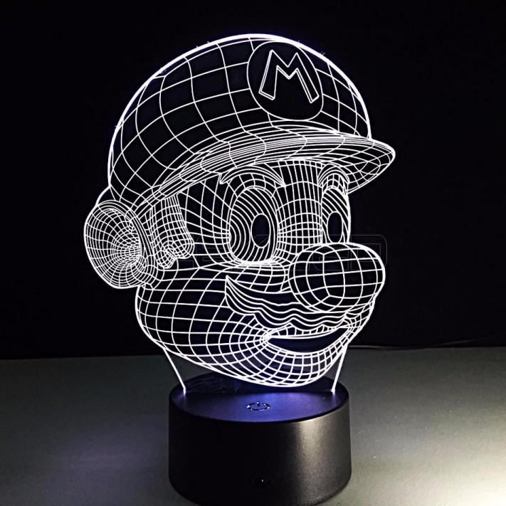 3d optical illusion lamp night light baymaxsuper mario. Black Bedroom Furniture Sets. Home Design Ideas