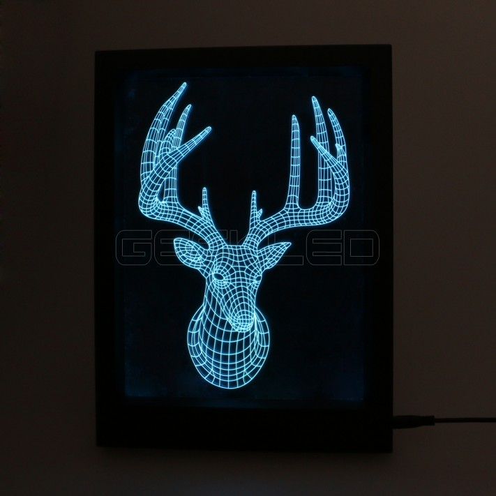 3D Buck LED Photo Frame Lamp with IR Remote