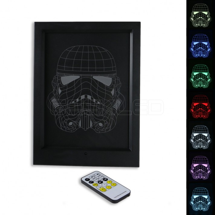 3D Storm Trooper LED Photo Frame Lamp with IR Remote